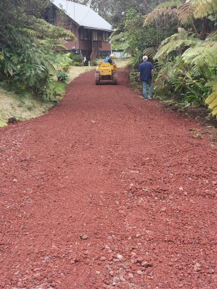 AFTER: Widened Driveway, Graded with Cinder