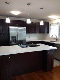 All new kitchen with new electrical, plumbing, cafe colored cabinets, quartz countertop, and new appliances.