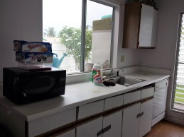 Due to prolonged water damage, the cabinets and countertop were showing signs of deterioration.